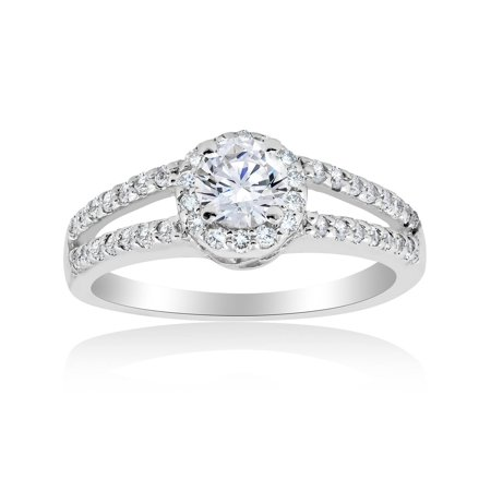1/4 Ct Marquise Diamond Solitaire (1 ct Halo Round Diamond Engagement Ring 14K White Gold Brilliant Cut Solitaire)