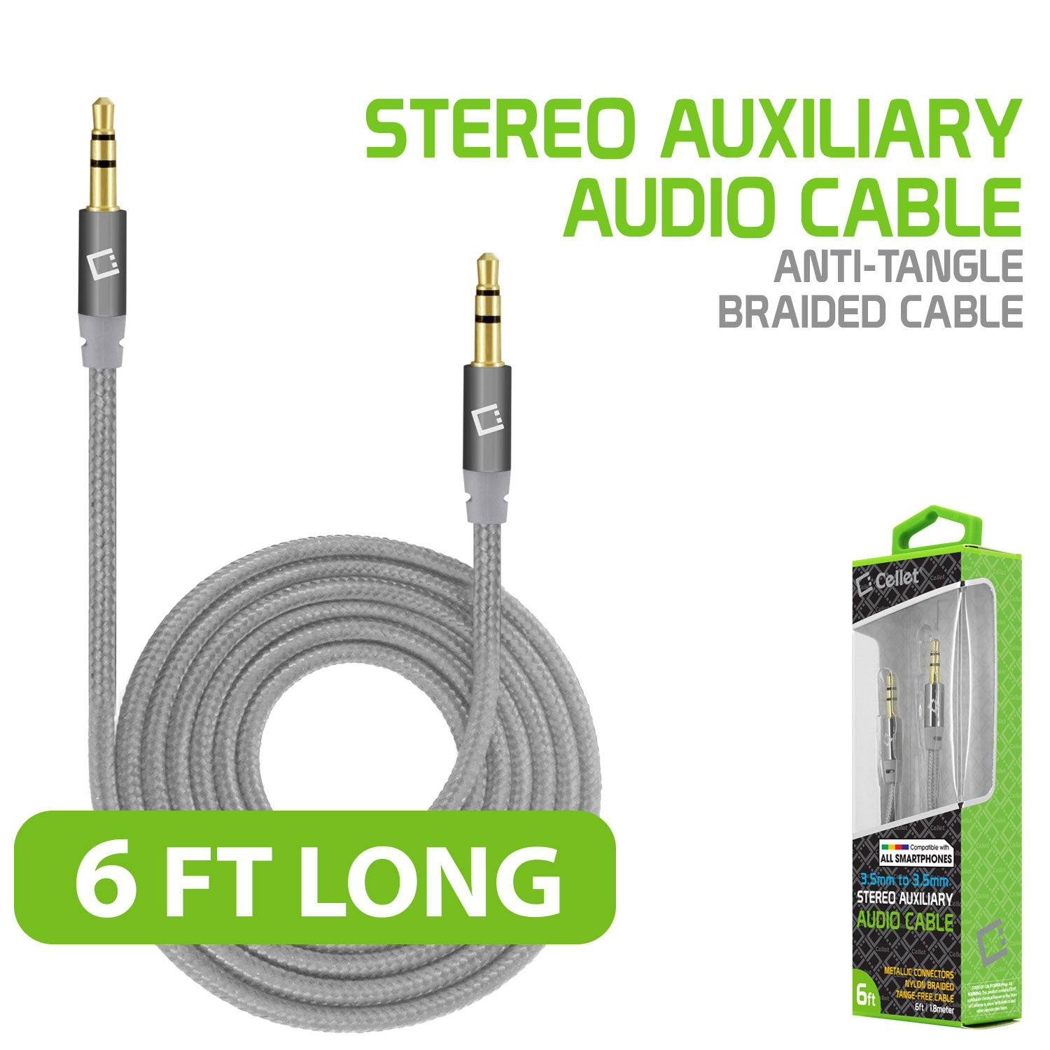 6ft Tangle Free Nylon Braided 3.5mm Male Aux Audio Cable for Phone, Home, Car