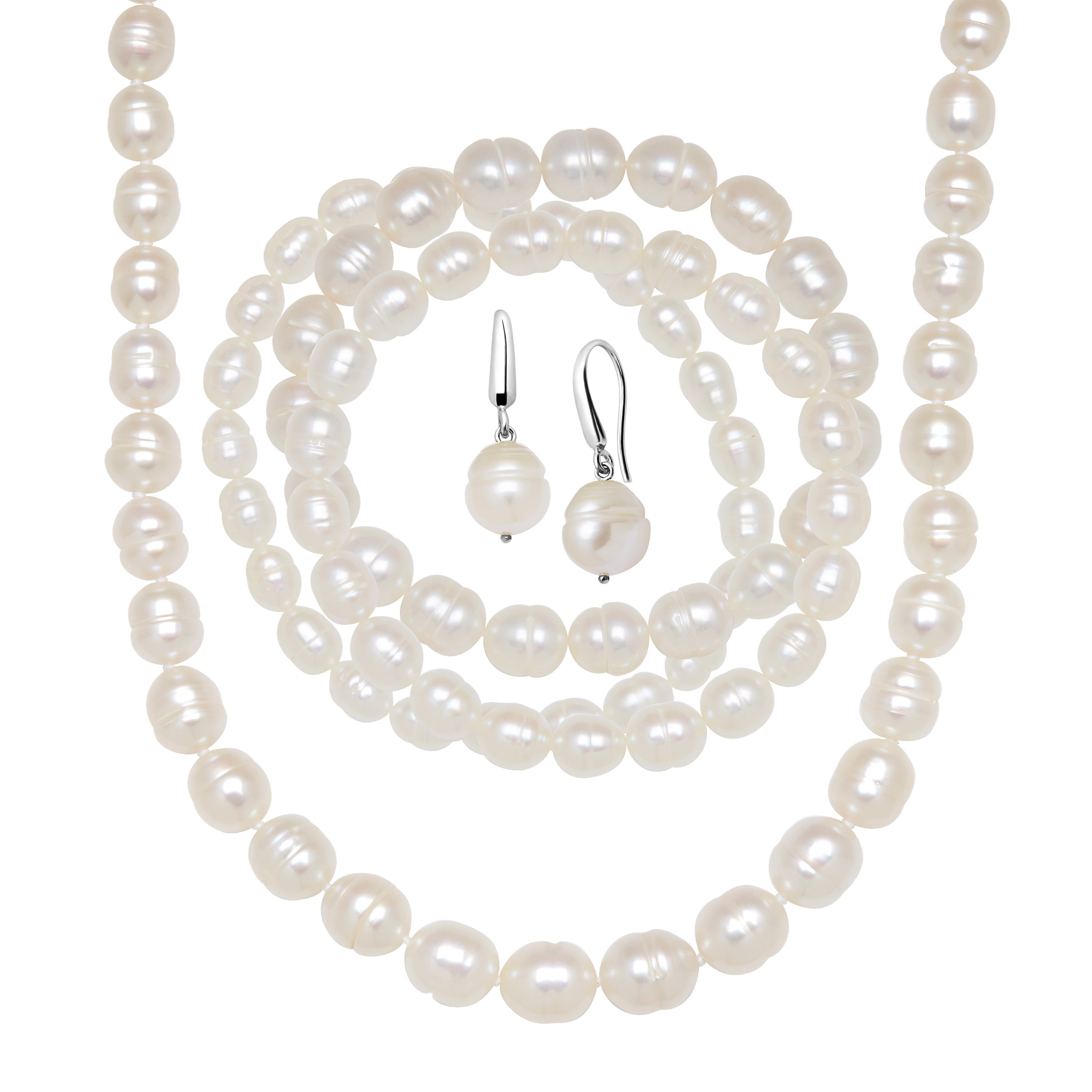 White Ringed Freshwater Pearl Earring, Bracelets & Necklace Set in Sterling Silver by Richline Group