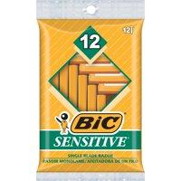 BIC Sensitive Shaver Men's Disposable Razor, Single Blade, Comfortable Smooth Shave, 12-Count