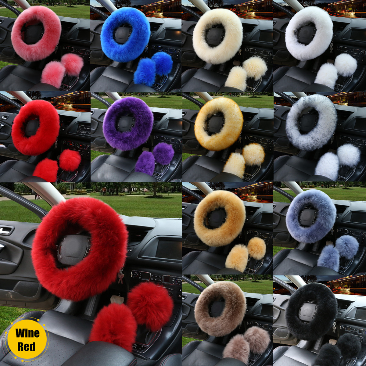"3Pcs/Set 13 Colors Non slip Steering Wheel Cover Protector Wool Furry Brake Gear Knob Cover Car Decoration (for 14.2"" steering wheel)"