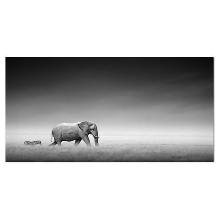 Small Elephant Design (DESIGN ART Designart 'Elephant with Small Zebra' Africa Animals Photography on Wrapped Canvas)