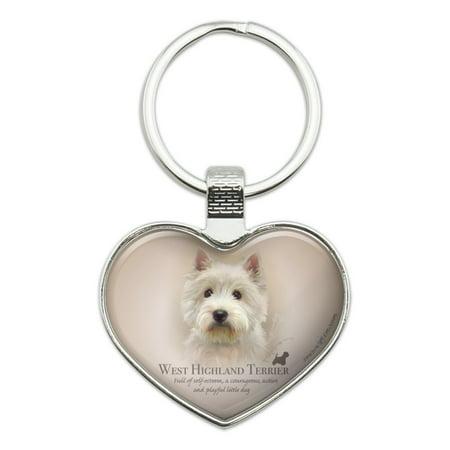 West Highland Terrier Westie Dog Breed Heart Love Metal Keychain Key Chain - West Highland Terrier Westie Trainer