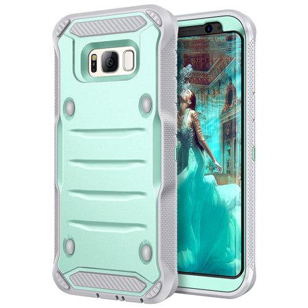 Galaxy S8 Case  Elv Belt Swivel Clip   Kickstand   Dual Layer Armor Holster Defender Full Body Protective Case Cover For Samsung Galaxy S8    Mint Grey