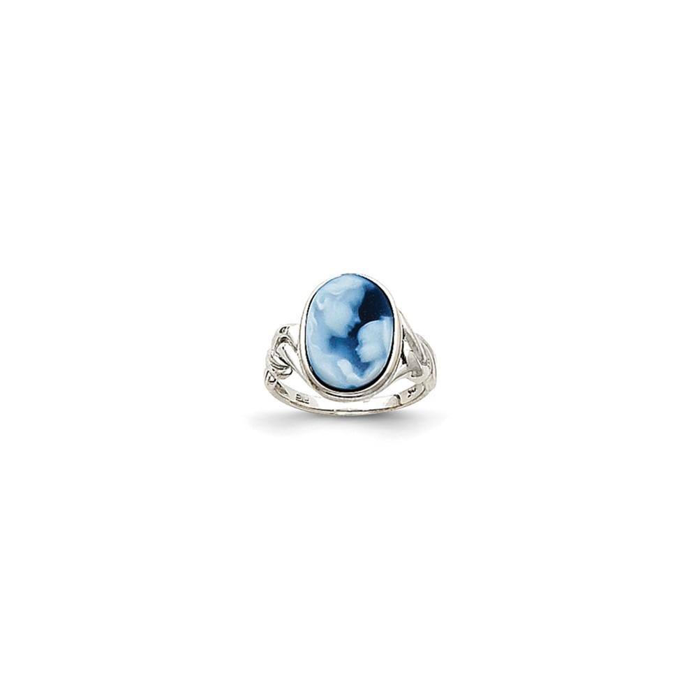 14k White Gold Heavens Gift Agate Cameo Ring.