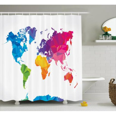 Map Shower Curtain Low Poly Style Artistic Illustration Of World