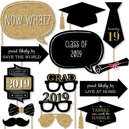Graduation Party - Gold - 2019 Photo Booth Props Kit - 20 Count - Party Photo Booth