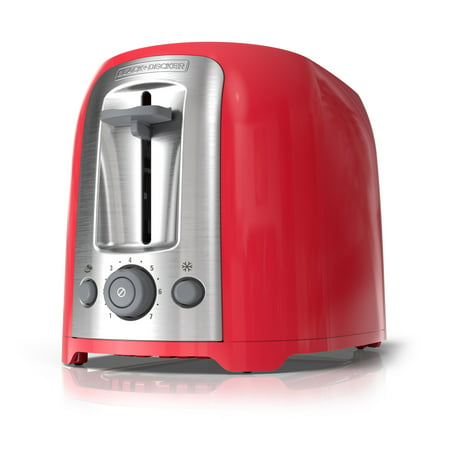 BLACK+DECKER 2-Slice Extra Wide Slot Toaster, Red/Silver,