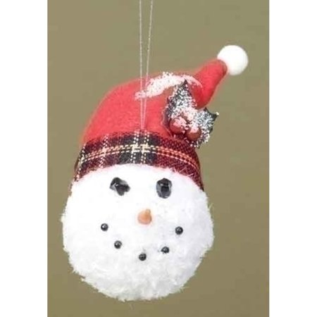 Roman 'Twas the Night Snowman Head with Plaid Hat Christmas Ornament - Roman Head Wear