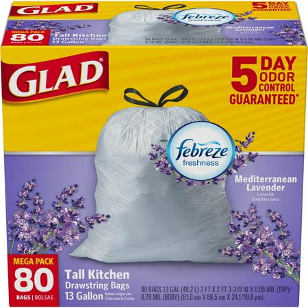 Glad Odorshield Tall Kitchen Drawstring Trash Bags  Mediterranean Lavender  13 Gallon  80 Count