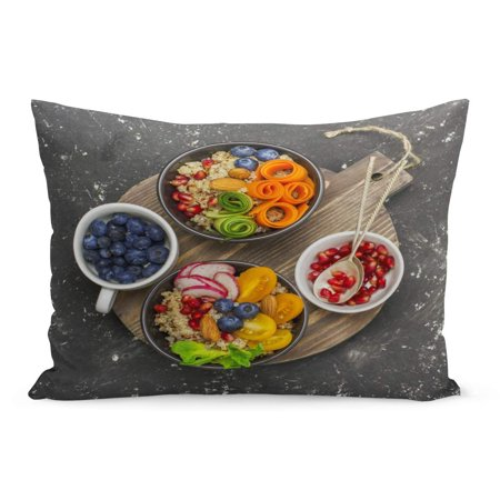 ECCOT Vegetarian Quinoa Bowl Healthy Breakfast Snack Detox Tomato Cucumber Pillowcase Pillow Cover Cushion Case 20x30 inch](Cucumber Snack)