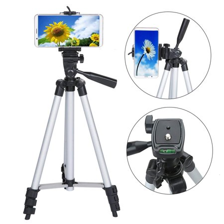 VGEBY Phone Tripod Aluminum Lightweight Tripod Stand for Camera Smartphone Cellphone with Carrying Bag and Smartphone Mount