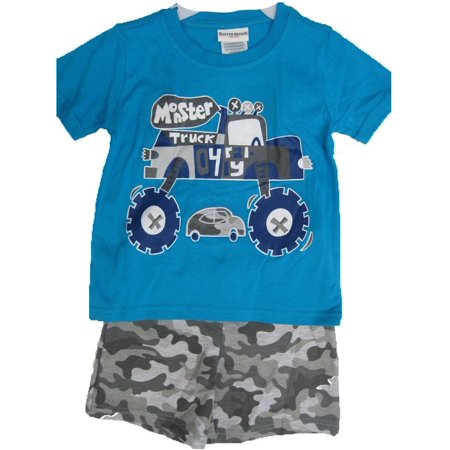 Buster Brown Little Boys Blue Gray Monster Truck Print Camo 2 Pc Shorts Set - Monster Outfit