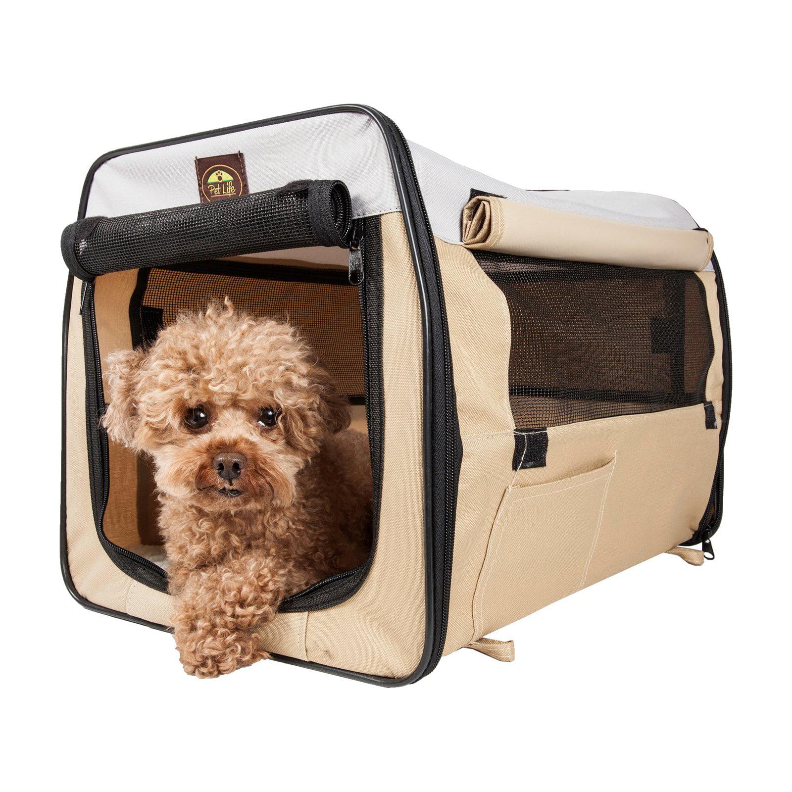Pet Life Lightweight Folding Collapsible Zippered Easy Pet Crate - Khaki