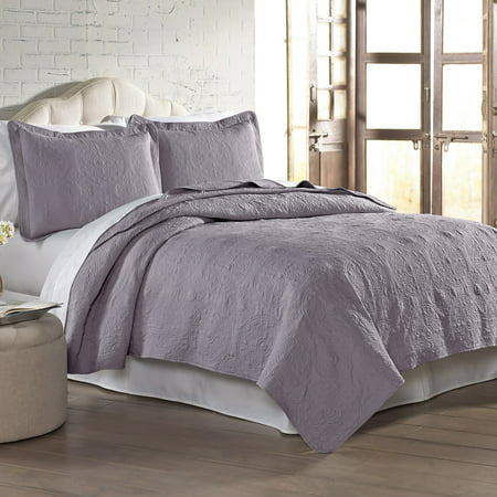 3 pc Solid Medallion Embroidered Quilt Set - King Lavender ()