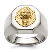 14K Gold Lion Accent on Stainless Steel Octagon Signet Ring Size 12,  Leo Men's Ring Jewelry
