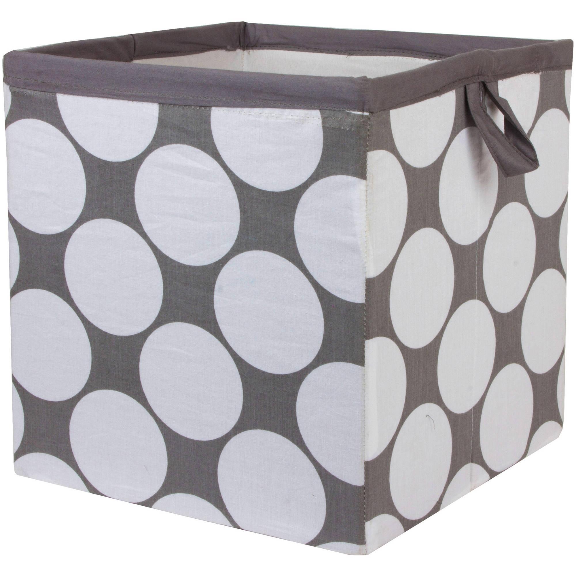 Bacati Dots/Pin Stripes Storage Box, Small, Gray/Yellow