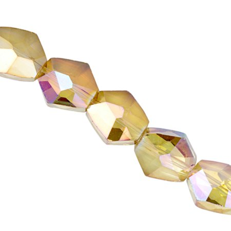 Crystal Bead, Center-Drilled Faceted Cosmic Rock, Citrine Ab2x Coated, 15.5x16x10mm