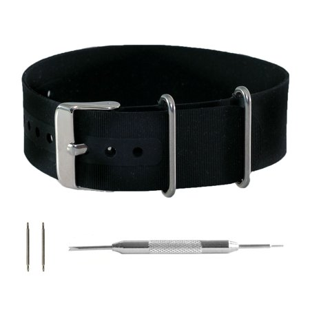 Black Silicone Rubber NATO Watchband + Spring Bar Tool (18, 20 & 22mm) (Xl Watch Band 22mm)