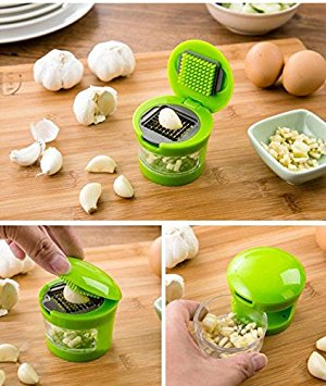 Redcolourful Mini Garlic Perfection Garlic Press Mincer Slicer Chopper with Store 2 Blades Green by