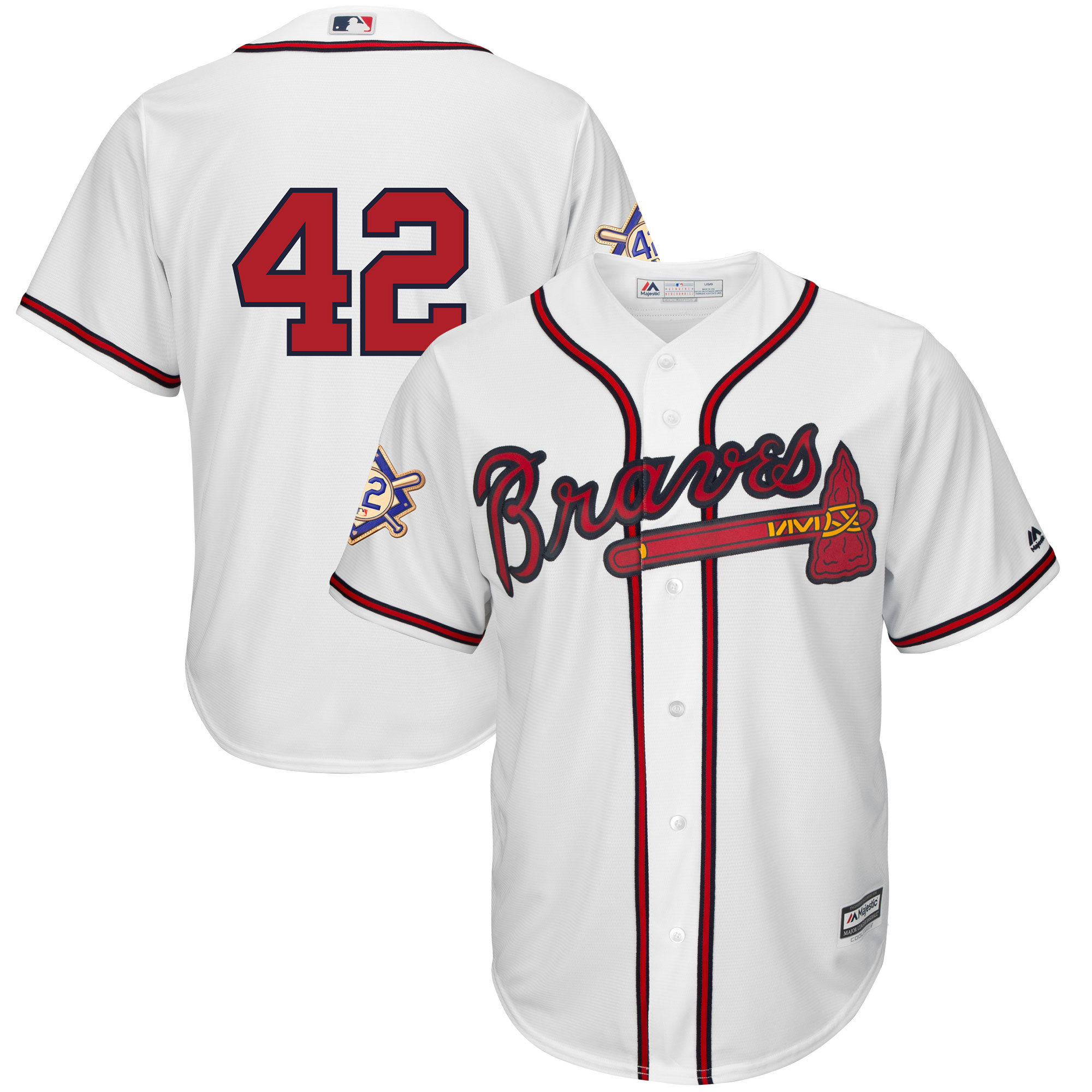 Atlanta Braves Majestic 2019 Jackie Robinson Day Official Cool Base Jersey - White