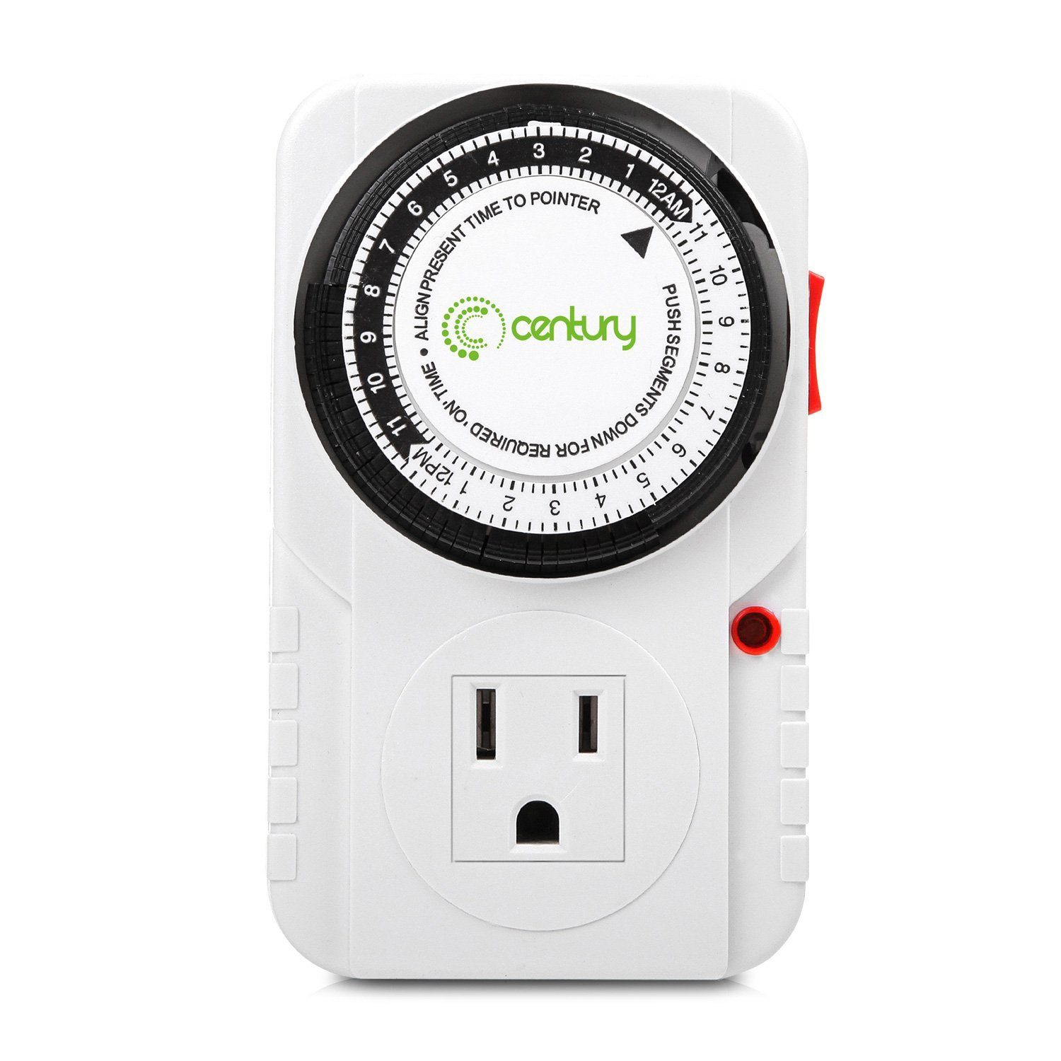 Century 24 Hour Plug-in Mechanical Timer Grounded Outlet Indoor Heavy Duty
