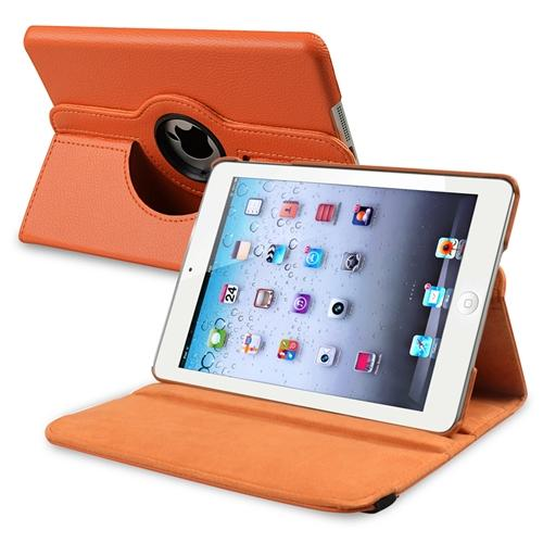 Insten 360-degree Swivel Leather Case For Apple iPad Mini 3 3rd / 1 1st / 2 2nd with Retina Display, Orange
