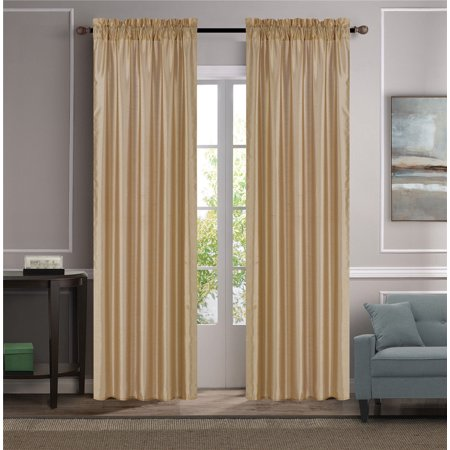 MR2 GOLD 2-PC SET MYRA Rod Pocket Faux Silk Window Curtain Treatment, Set of Two (2) Solid Semi Sheer Panels 55