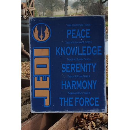 Halloween Prop Country Primitive Distressed Wood Print Sign 11.5 x 14.5 Star Wars, Jedi creed sign