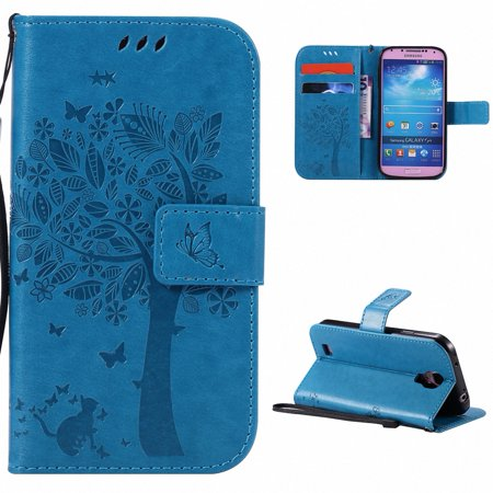 Galaxy S4 IV Case, Samsung Galaxy S4 Phone Cases, Allytech [Embossed Cat & Tree] PU Leather Wallet Case Folio Flip Kickstand Cover with Card Slots for Samsung Galaxy S4 S IV I9500 Cell Phone, Blue (Samsung S4 Phone Case)