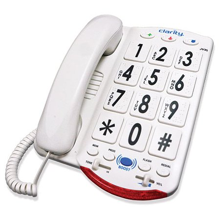 Clarity JV 35 Extra Large Button Wall Mountable Amplified Corded Phone (White)