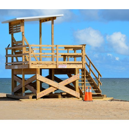 LAMINATED POSTER Beach Stand Sand Life Guard Sky Ocean Safety Poster Print 24 x 36 Beach Sand Finish Stand