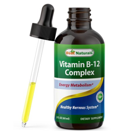 Best Naturals Vitamin B12 Liquid Complex - 2 FL OZ (60 ML) - Best Supplement to Increase Energy, Enhance Mood, Sharpen Focus and Boost Metabolism - Liquid Form for Fast