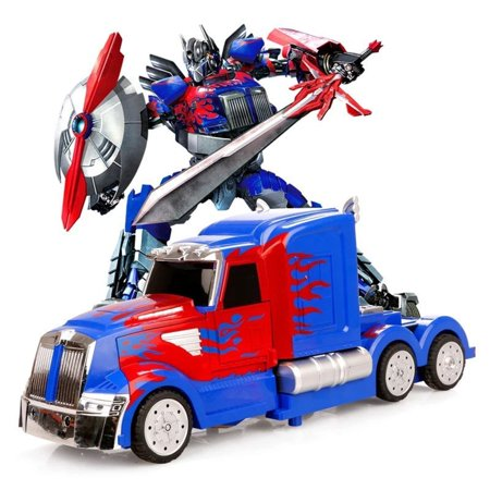 Light Up Transformers Bump And Go Car LED Prime Autobot Truck Toy Action Sound