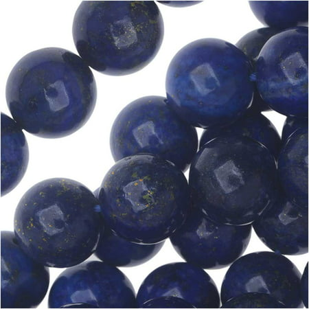 Lapis Lazuli Gemstone Beads, Round 10mm, 7.5 Inch Strand, Blue and