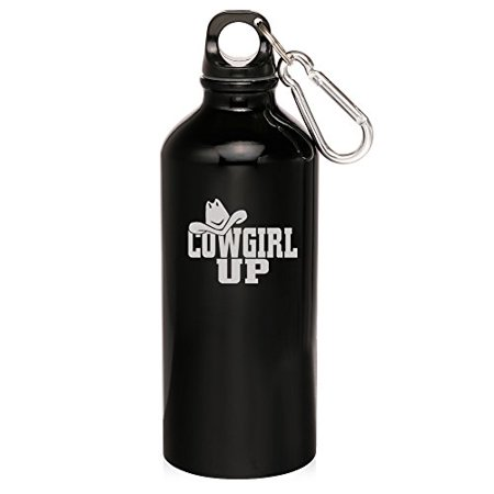 20oz Aluminum Sports Water Bottle Caribiner Clip Cowgirl Up with Hat (Black) - Cowgirl With Hat