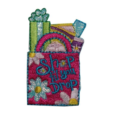 Ship Package - ID 8406 Shop Til You Drop Bag Patch Package Fashion Embroidered Iron On Applique