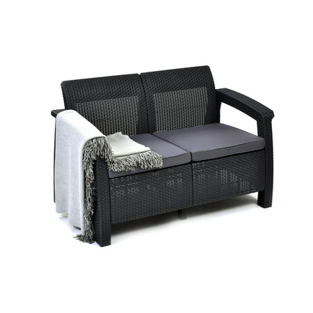 Keter Corfu Resin Love Seat With Cushions All Weather Plastic Patio Furniture Charcoal Gray Rattan