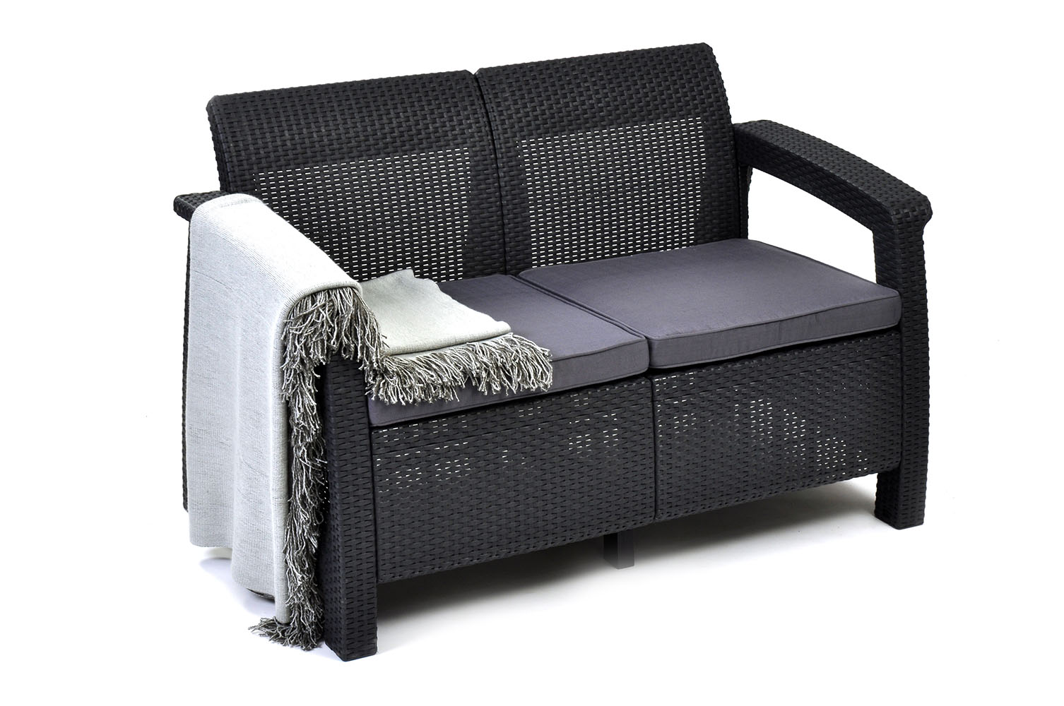 keter corfu resin love seat with cushions all weather plastic patio furniture charcoal gray rattan walmartcom