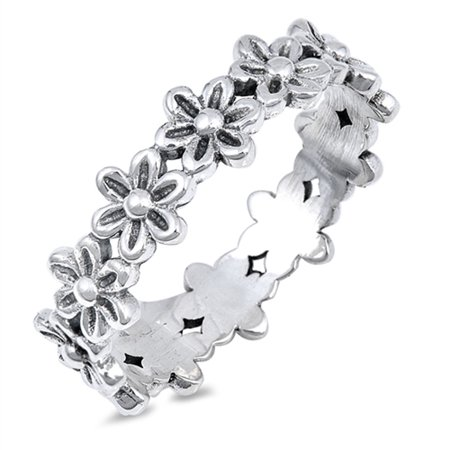 Plumeria Flower Eternity Promise Ring .925 Sterling Silver Daisy Band Size 4 ()