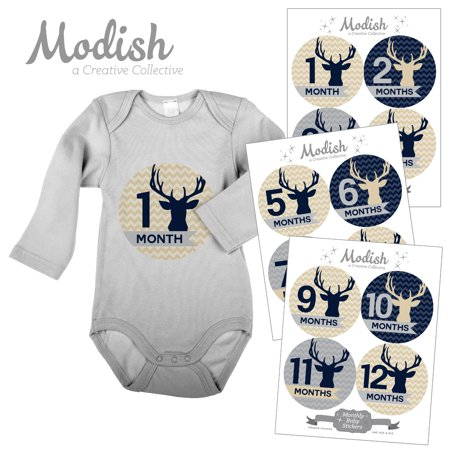 Monthly Baby Stickers, Boy, Deer, Antlers, Woodland, Tan, Navy Blue, Baby Photo Prop, Baby Shower Gift, Baby Book Keepsake, Modish Labels