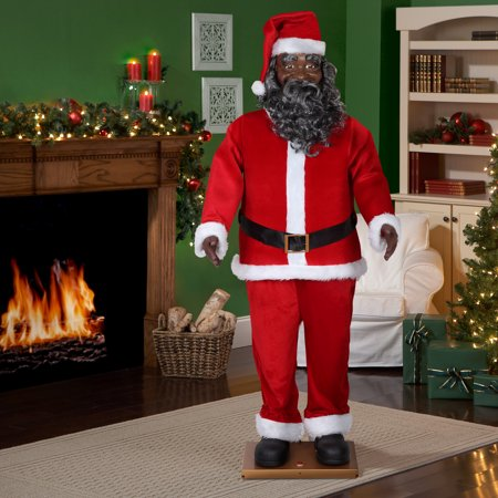holiday time 6 ft life size animated santa african american - African American Outdoor Christmas Decorations