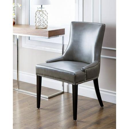 Devon & Claire Laguna Leather Nailhead Trim Dining Chair, Grey