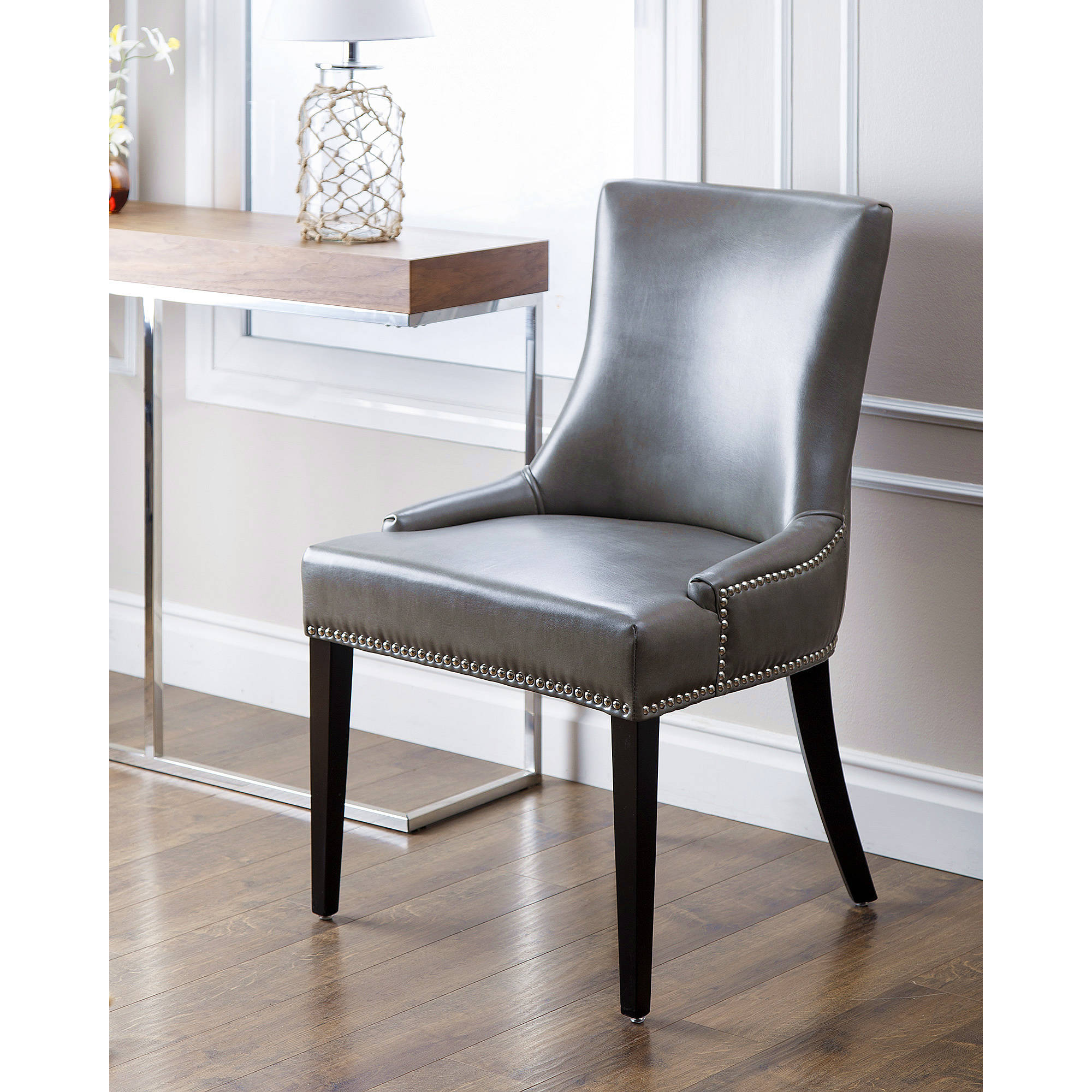 Merveilleux Devon U0026 Claire Laguna Leather Nailhead Trim Dining Chair, Grey