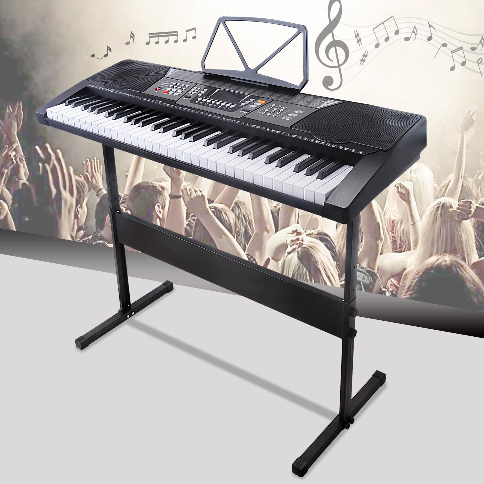 Uenjoy 61 Key Music Electronic Keyboard Electric Digital Piano LED Display LED Screen w /Adjustable H-Stand, Black