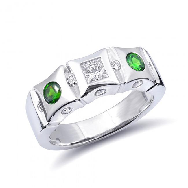 Precious Stars JJ2096-sz6.5 Size 6.5 14K White Gold 0.82 Carats TGW Demantoid Garnet & White Diamond One of a Kind Ring - image 1 de 1