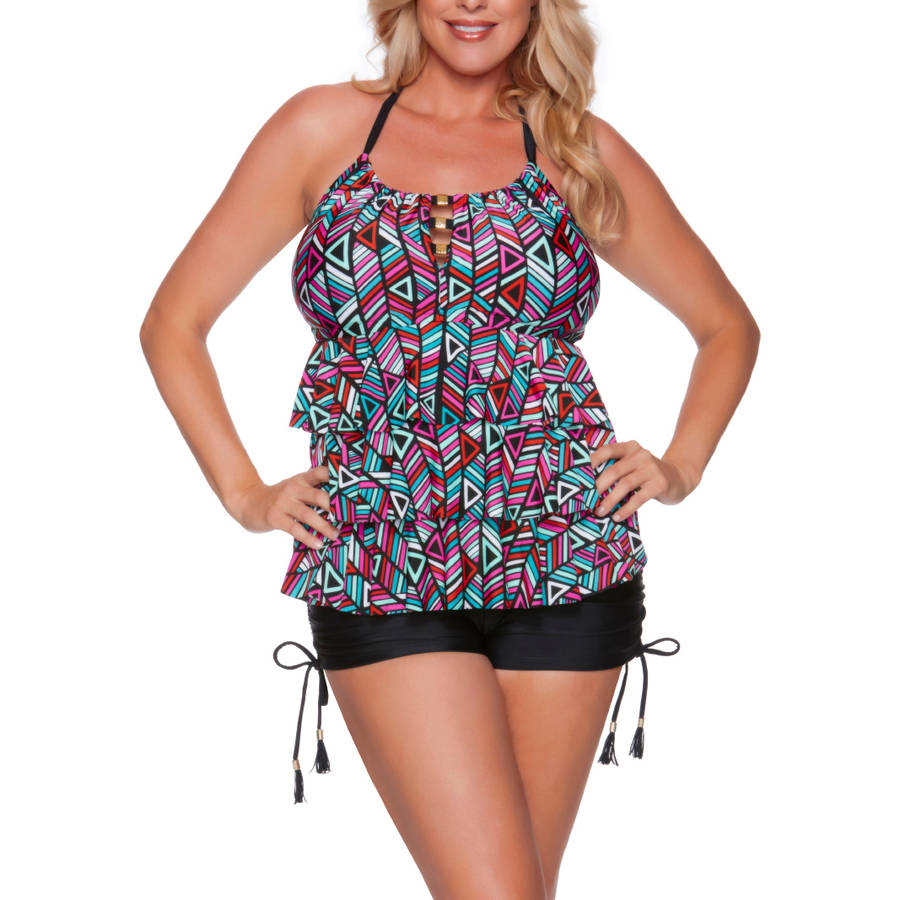 Catalina Women's Plus-Size Geo Print Ruffled Halter Tankini Top