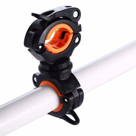 Rotatable Bike Bicycle Handlebar LED Flashlight Torch Mount Holder Clamp Bracket Color:Black Orange (Bike Handlebar Flashlight)