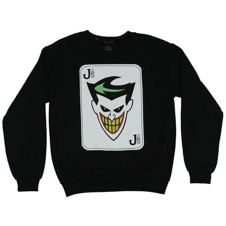Batman Dc Comics Crewneck Sweatshirt Animated Series Joker Face Card Image Small Small
