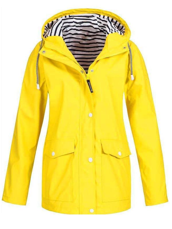 JustVH Women's Waterproof Jacket Hooded Lightweigth Raincoat Active Outdoor Trench Coat